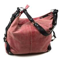 Tano Red Leather Hobo Shoulder Bag Studded Harness Strap Satchel Purse Medium image 1