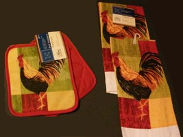 COLORFUL ROOSTER KITCHEN SET 4pc Towels Potholders Red Yellow Green Towe... - $12.99