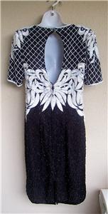 New! Vtg B&W ART DECO BUTTERFLY SILK BEADED Dress S