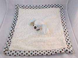 """Blankets & Beyond Dog Lovey Security Blanket White Teal Brown Dots 17"""" S... - $9.95"""