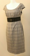 ADRIANNA PAPELL Sz 8 Plaid Stretch Pencil Sheath Dress Wide Belt Detail - $29.67