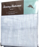 Tommy Bahama Paloma Beach Stripe Blue Stone Washed Cotton Percale Sheet ... - $85.00