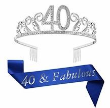 "40th Brithday Silver Tiara and Sash, Glitter Satin""40 & Fabulous"" Sash and Rhine - $17.40"