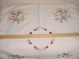 "BREATHTAKING HANDMADE EMBROIDERED FLORAL / BEAD 36"" BY 36"" TABLE COVER - $50.41"