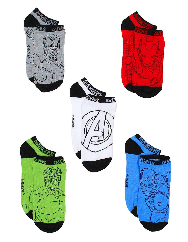 Marvel Vengadores Capitán América 4 Or 5-Pack Corte bajo No Show Calcetines