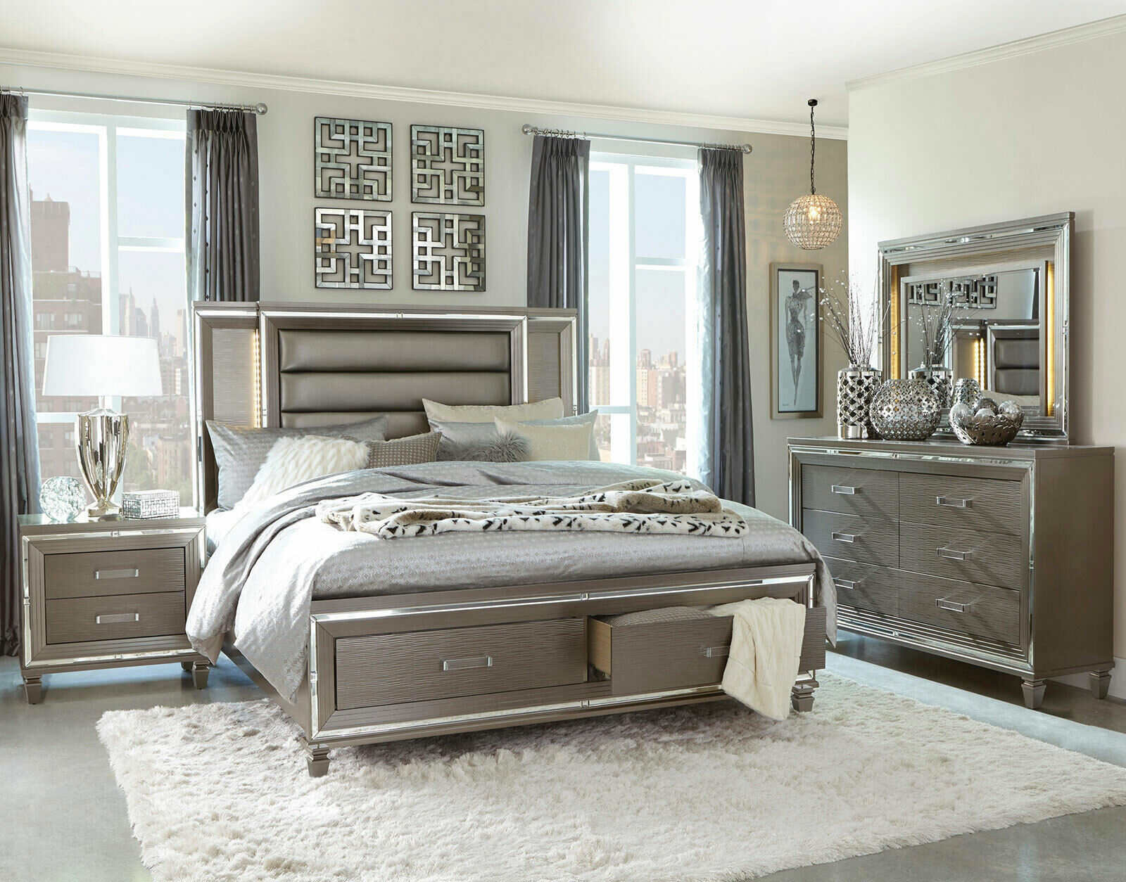 Emilie Bedroom Collection: EMILY 5 Pieces Modern Silver-Gray Bedroom Set With King