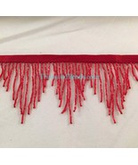 "3"" RED Glass BUGLE Beaded CHEVRON Bead Fringe Lamp Costume Trim - $12.99"