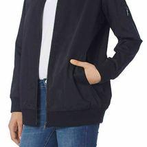 Bernardo Ladies' Black Satin Bomber Boyfriend Zip Up Jacket Coat Medium NEW image 3