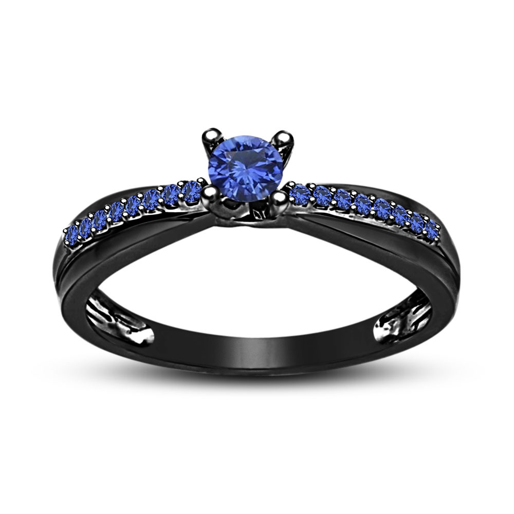 Primary image for Blue Sapphire Black Gold Plated 925 Silver Beautiful Solitaire W/ Accents Ring