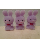 3 MIni Lavender Flocked Easter Bunnies Rabbits Shabby Chic Bunny Crafts - $3.99