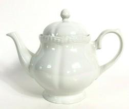 Johnson Brothers OLD ENGLISH White Teapot Scalloped Rope Edge Vintage 91-99 - $178.19