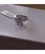 Blue Aquamarine Trillion & Neon Apatite Round Ring, 925 Silver, Size 8, ... - $99.99