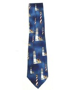 Lighthouse Tie  Mens Shiny Multi Color Necktie - $8.86