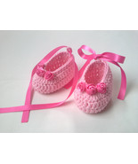 Crochet Baby Booties Pattern tutorial PDF file, pink baby booties, satin... - $1.39