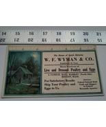Home Treasure Advertising Paper Card W. F. Wyman & Co Poultry Eggs Bosto... - $18.99
