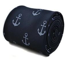 Frederick Thomas Designer Mens Tie - Dark Navy Blue Embroidered Nautical... - $16.15