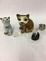 Lot of 5 pcs. Vintage CATS ceramic glass Mexico kitten figurine - $39.59