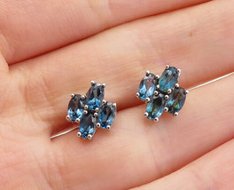 925 Sterling Silver  - Vintage Petite Blue Topaz Cluster Stud Earrings -... - $26.28