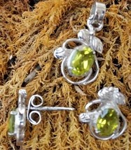 Peridot Gemstone Earrings and Pendant Set 925 Sterling Silver Hand made ... - $22.55