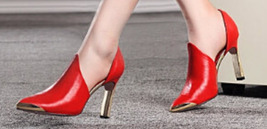 84H073 Metal texture ankle pumps, genuine leather, Size 4-8.5, red - $128.80