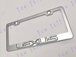 LEXUS 3D Emblem Stainless Steel License Plate Frame Rust Free W/ Bolt Caps - $18.07