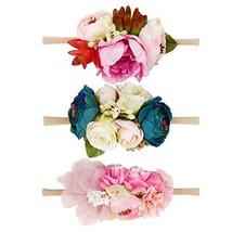Floral Headbands For Baby Girls Lightweight Flower Nylon Elastic Hair Ba... - $16.15
