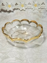 Heisey Glass Colonial Panel Pattern Round Bowl Dish Clear Gold Edge Star Diamond