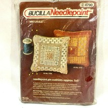 Vintage Bucilla Needlepoint Pin Cushion Kit 5x5 inch Naturale 4790  - $9.70