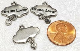 DREAM LOVER CLOUD WITH DANGLE HEART FINE PEWTER PENDANT CHARM - 19x21x2mm image 3