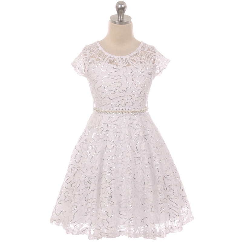 Navy Blue Cap Sleeve Glitters Floral Lace Pearl Belt Flower Girls Dresses