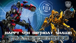 Transformers Optimus Prime & Bumble Bee -Personalized- Vinyl Birthday Banner - $34.95