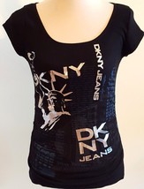 DKNY JEANS RN 52002 Junior's Graphic NY LOVES YOU Statue of Liberty Top ... - $21.26