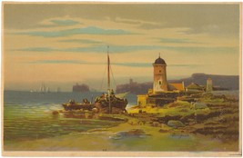 Vintage Seashore Lithographic Print by Colestin Brugner, Beautiful  - $20.00