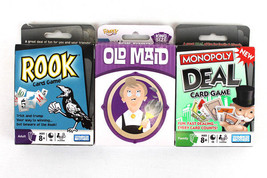 Lot of 3 Card Games: Monpoly Deal, Rook & Old Maid Parker Bros. & Fundex - $12.07