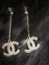 SALE* AUTH CHANEL 2019 LARGE CC LOGO Crystal Dangle Drop SILVER Earrings image 2