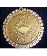 Vtg Faceted Rhinestones Astrology Horoscope CANCER Pendant - $19.95