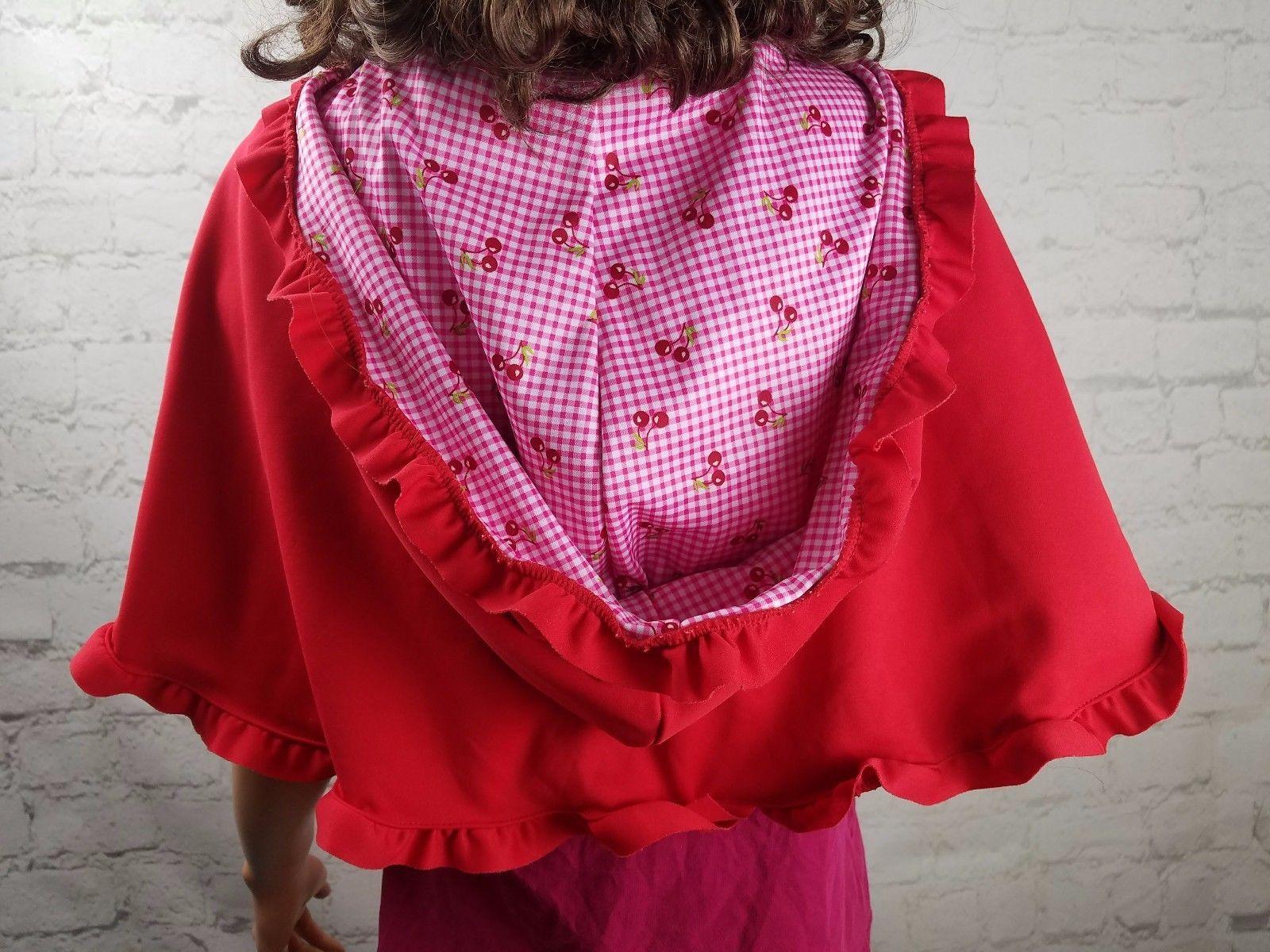 Girls Red Riding Hood Cape Costume CUTE! Handmade Checkered Cherry
