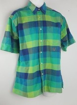 Tommy Hilfiger Blue Green Plaid Short Sleeve Crest Button Front Shirt Me... - $9.89
