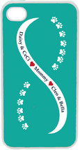 Teal Blue and White Infinity Paw with Four Navy Custom Names on iPhone 4... - $15.95