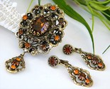 Vintage hobe pendant brooch earrings demi parure rhinestone amber thumb155 crop