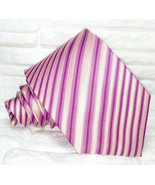Necktie Classic pink striped tie New, ,100% Silk, handmade Made in Italy... - $27.46
