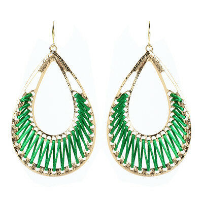 Primary image for Amrita Singh Gold Green Silk Crosby Street Dangle Earrings ERC 1509 NWT