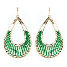 Amrita Singh Gold Green Silk Crosby Street Dangle Earrings ERC 1509 NWT  - $16.34