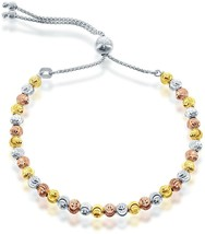 Womens Sterling Silver Bracelet Diamond-Cut Moon Tri-Color Beads Adjustable Bolo - $117.31