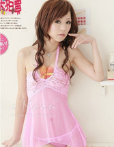 8102 Sexy & sweet halter dress w deep v,g-string, ,Free size, fit to s/m/l, pink image 4