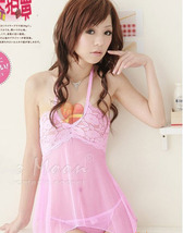 8102 Sexy & sweet halter dress w deep v,g-string, ,Free size, fit to s/m/l, pink image 6