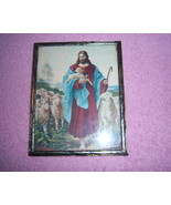 Jesus With Flock Of Sheep Vintage Religious Framed Photo - $5.00