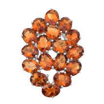 Oval Citrine Gemstone 925 Silver Cluster Long Full Finger Statement Wedd... - $95.36