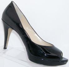 Enzo Angiolini Demario black patent leather peep toe slip on platform he... - $30.53