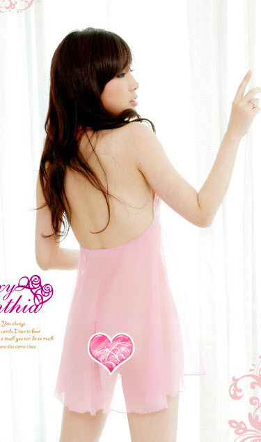 8023 Stunning neck halter dress w lace bust & open back, g-string, FS, fits to s image 2